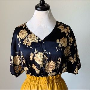 Vintage Floral Navy Silky Top Retro